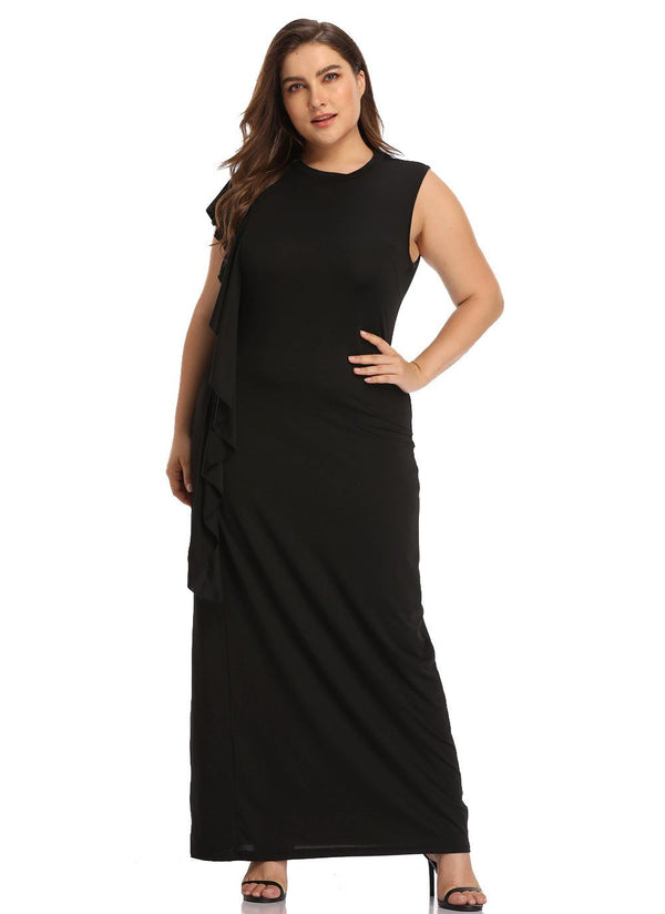 Women Round Neck Sleeveless Stitching Long Dress Slim Temperament Lady Dress
