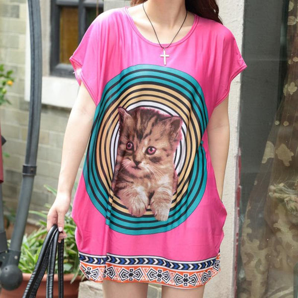 Amazon 2019 Plus Size Women Fashion Wild Ice Silk T-shirt Short-sleeved Mid-length Dress Women