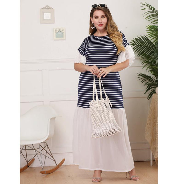 Women European And American Large Size Round Neck Short Sleeve Pleated Striped Swing Skirt Long Skirt Dress