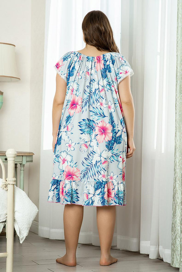 Nightdress Short Sleeve Large Size Cute Loose Mid-length Thin Summer European Sexy