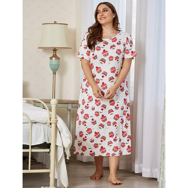 Nightdress Short Sleeve Large Size Cute Loose Mid-length Thin Summer European And American Sexy Pajamas