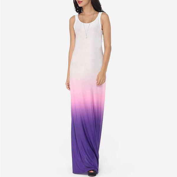 Women Clothing Network Gradient Hanging Dye Side Pleated Design Long Round Neck Mopping Track Vest Long Skirt Women