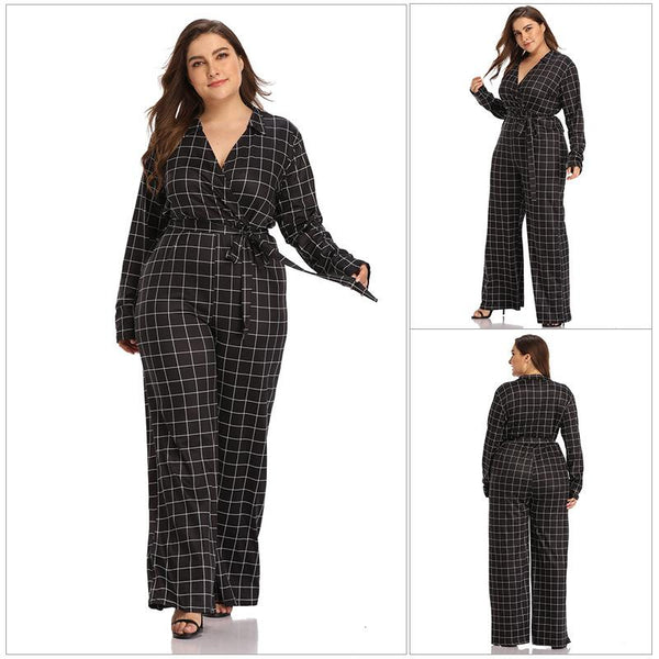 European And American Women V-neck Straps Temperament Slim Fit Plus Size Jumpsuit Trousers
