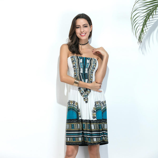 Europe And America Wrapped Chest Midi Skirt Milk Silk Ice Silk Print Dress Beach Skirt Women