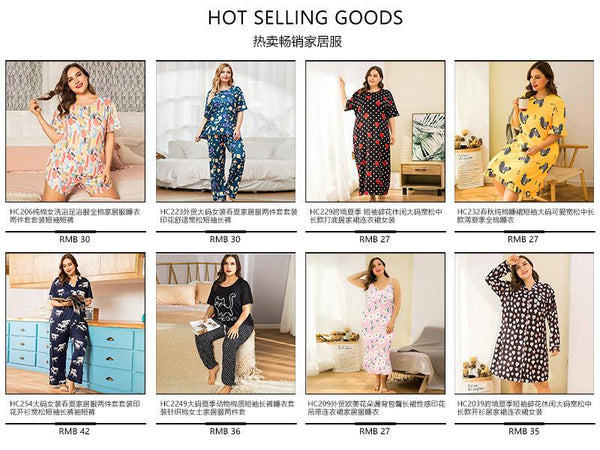 Plus Size Home Service Suit Cotton Pajamas Ladies Print Summer Short-sleeved Casual Home Service