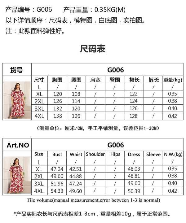 Pajamas Foreign Trade Summer Small Floral Home Service Large Size Loose Mid-length Over The Knee Nightdress