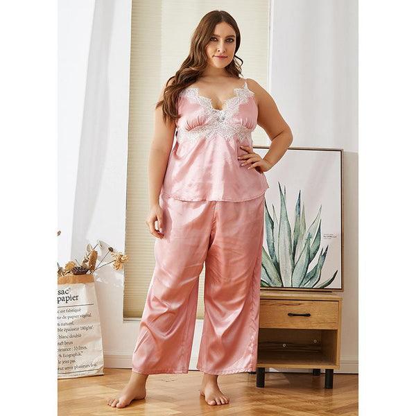 European Imitation Silk Nightdress Loose Mid-length Pajamas Summer Plus Size Lace Home Service