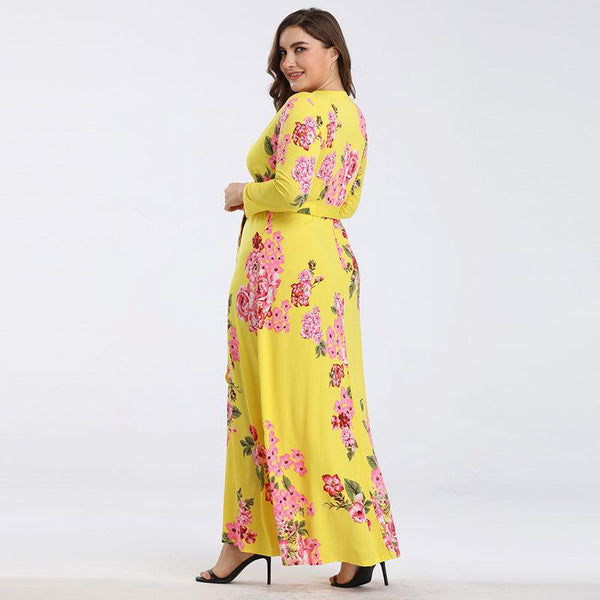Cross-border European And American Plus Size Women V-neck Long-sleeved Printed Lace-up Waist Dress