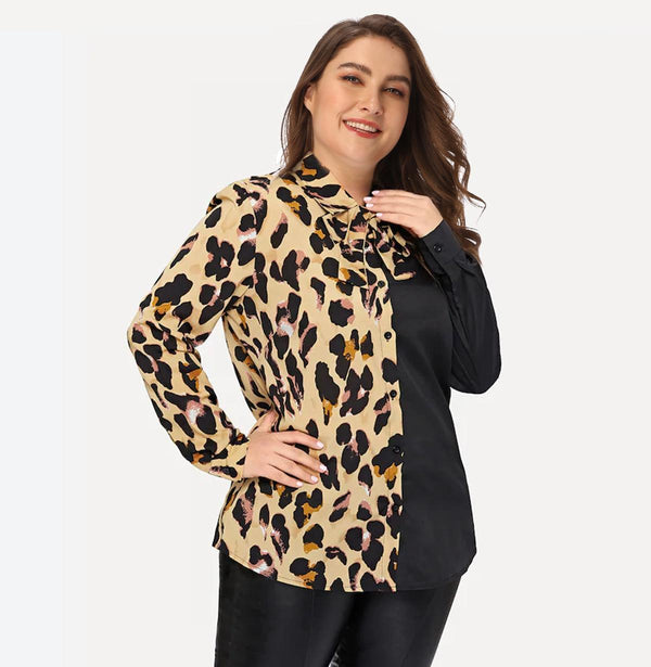 Cross-border Plus Size Women European And American Autumn And Winter New Leopard Print Tie Long Sleeve Shirt Women