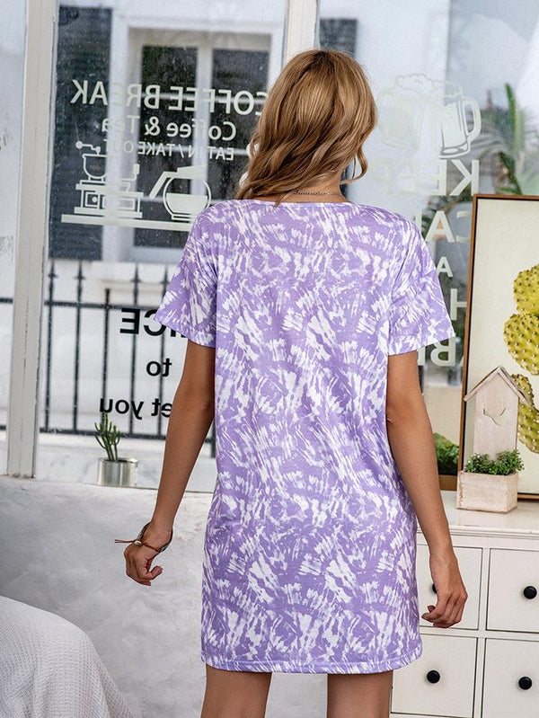 Cross-border Casual Printed Tie-dye Autumn And Winter Pajamas Short-sleeved Dress Home Wear