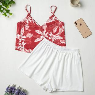 Imitation Silk Suit Ladies Ice Silk Printed Pajamas Summer Sling European And American Home Service