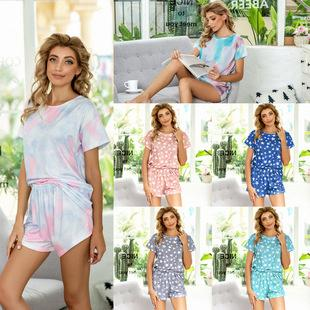Europe And America New Casual Printed Tie-dye Autumn And Winter Pajamas Short-sleeved Dress Home Wear