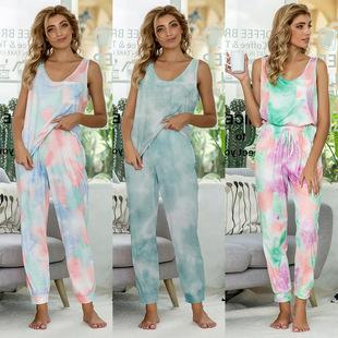Europe Style New Casual Printed Tie-dye Autumn And Winter Pajamas Short-sleeved Jumpsuit Home Service