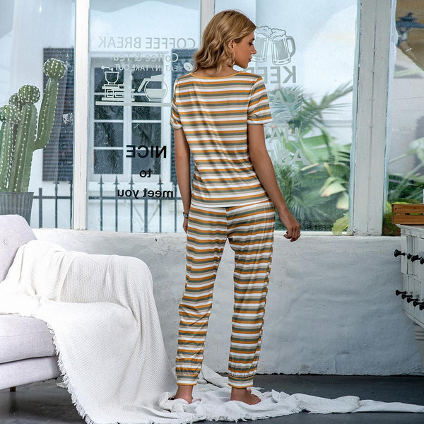 Women European New Home Service Autumn And Winter New Striped Short-sleeved Trousers Casual Pajamas Suit
