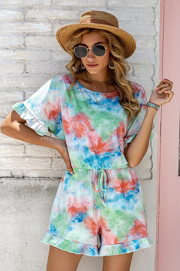 Women Europe New Casual Printed Tie-dye Autumn And Winter Pajamas Jumpsuit Home Service