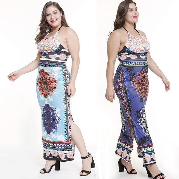 Women European And American Halter Neck Split Sexy Print Plus Size Loose Dress