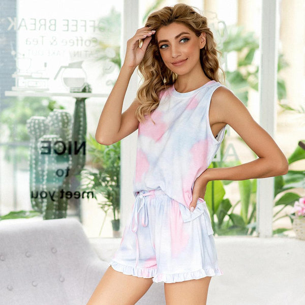Women New Summer Print Tie-dye Leopard Print Pajamas Sleeveless Gradient Color Home Service Suit