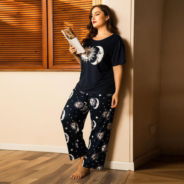 Plus Size Summer Cotton Short-sleeved Trousers Pajamas Set Knitted Cotton Ladies Two-piece Home Service