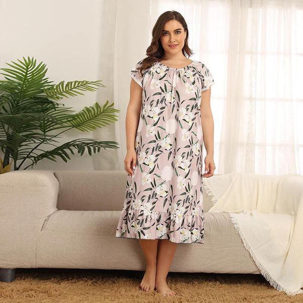 Floral Nightdress Pajamas Summer New Style Over The Knee Long Skirt Temperament