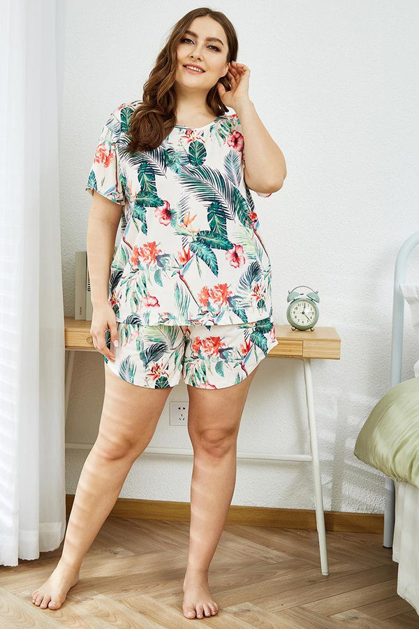 European And American Women Summer Home Wear Casual Two-piece Short-sleeved Pajamas Suit