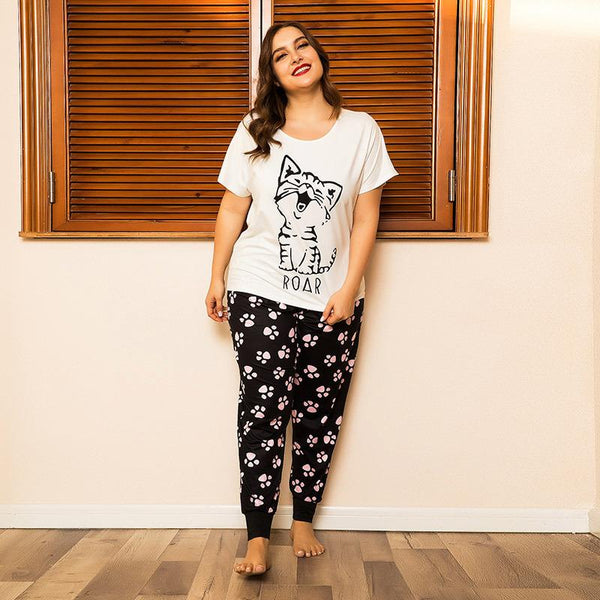Plus Size Women Spring And Summer Home Service Two-piece Suit Cat Print Loose Short-sleeved Trousers Feet