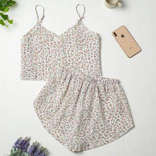 Ladies Knitted Printed Pajamas Summer Sling European And American Home Service Suit