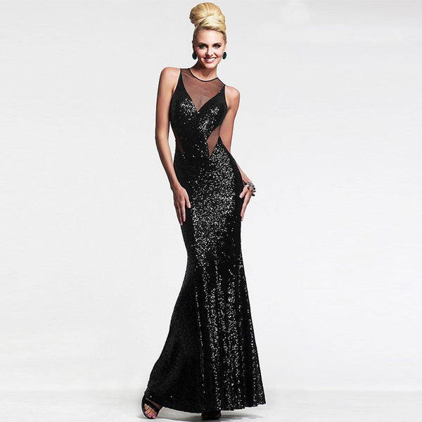 Europe Sexy Women Wrapped Breast Mesh Stitching Sequin Evening Dress Long Skirt Halter Dress