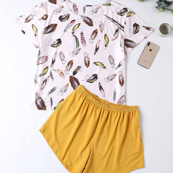 Plus Size Home Service Suit Cotton Leaf Pajamas Ladies Printed Summer Shorts Cotton Home Service