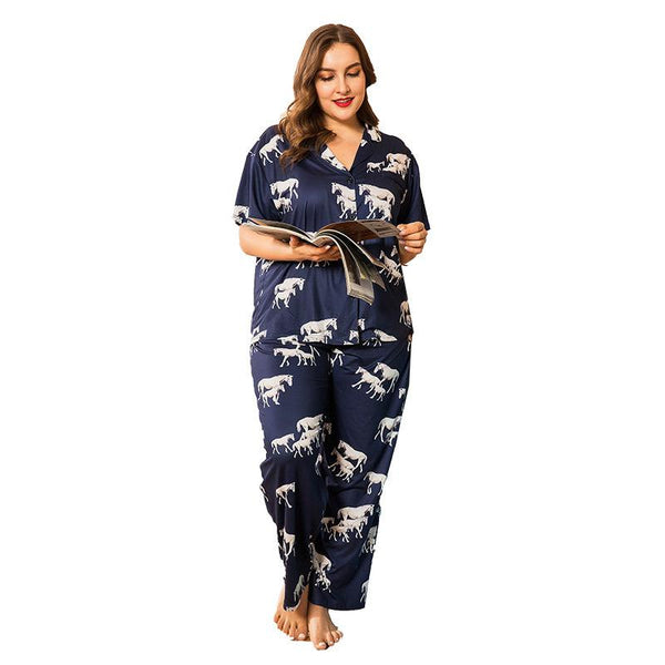 Plus Size Women Spring Home Service Two-piece Suit Printed Cardigan Loose Short-sleeved Trousers