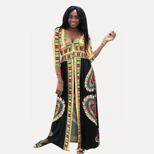 Women New Bohemian Dress African Totem Digital Print Big V Slit Long Skirt