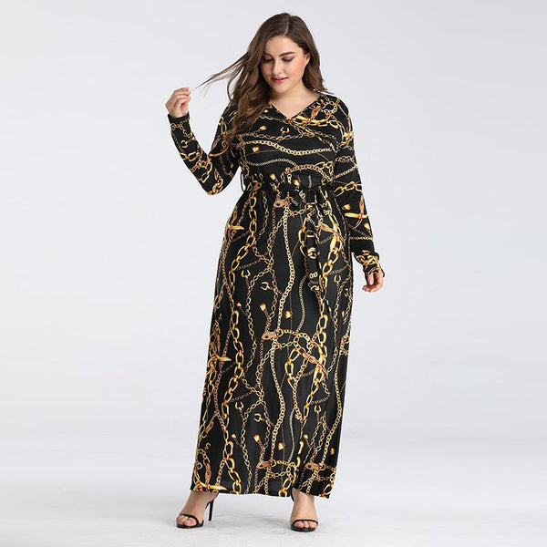 Europe Style Plus Size Women Printed Round Neck Waist Slimming Long Sleeves Large Swing Dress
