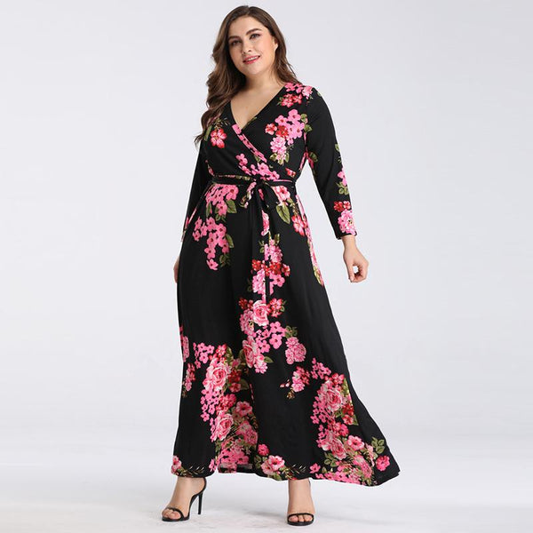 Spring And Summer New Deep V-neck Printed Lace-up Waist Slimming Long Skirt Dress