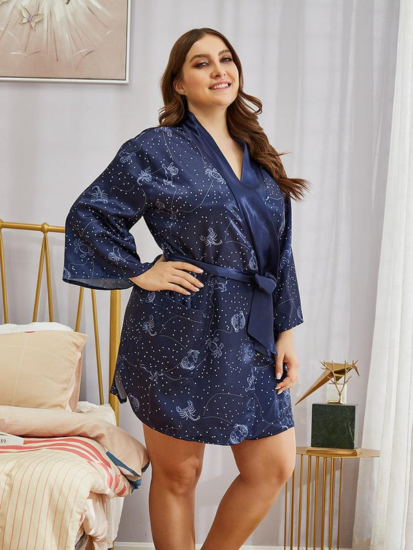 Imitation Silk Ladies Homewear Nightgown Print Long Sleeve Autumn Pajamas