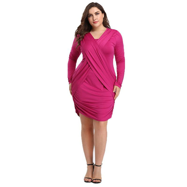Europe And America Plus Size Women Long-sleeved Cross Evening Dress Dress