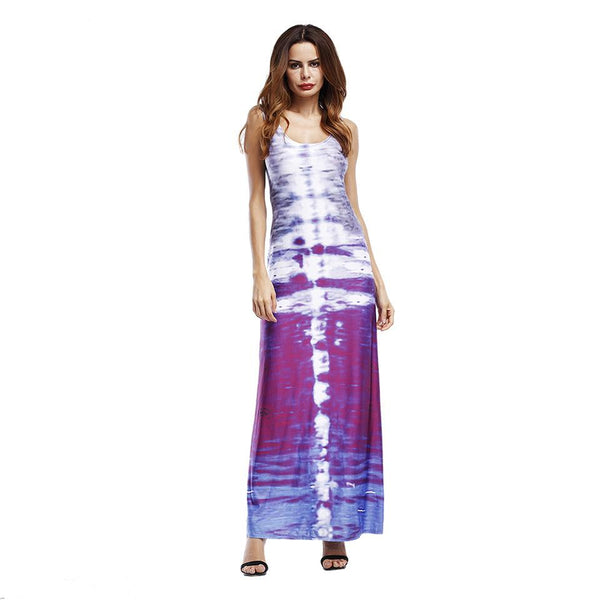 Women European And American Slim Gradient Printed Beach Skirt Long Skirt