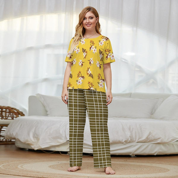 Plus Size Summer Cotton Short-sleeved Trousers Pajamas Set Knitted Ladies Two-piece Home Service