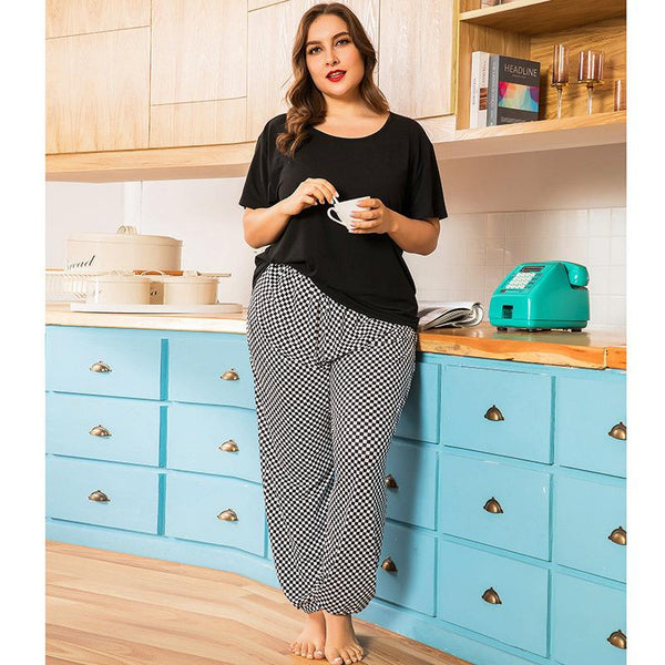 Plus Size Women Spring Home Service Two-piece Suit Striped Printing Loose Short-sleeved Trousers
