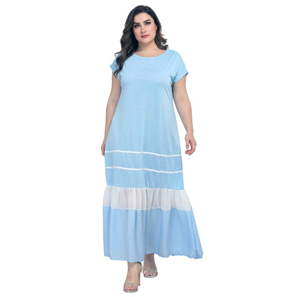 European Style Plus Size Women New Loose Casual Pleated Round Neck Short Sleeve Light Blue Long Dress