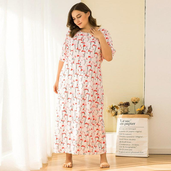 Summer Short-sleeved Floral Plus Size Loose Mid-length Bottoming Home Skirt Dress Women Clothing