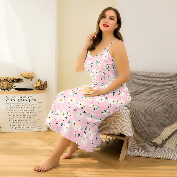 Europe Flowers Leaking Backpack Hip Long Skirt Sexy Printing Suspender Dress Home Wear Pajamas