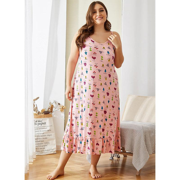 European And American Sling Floral Casual Large Size Loose Amazon Bottoming Home Service Dress