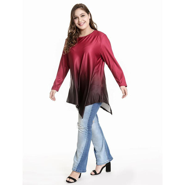Autumn And Winter New Women Round Neck Loose Long-sleeved Pullover Gradient T-shirt European Fat MM Irregular Top