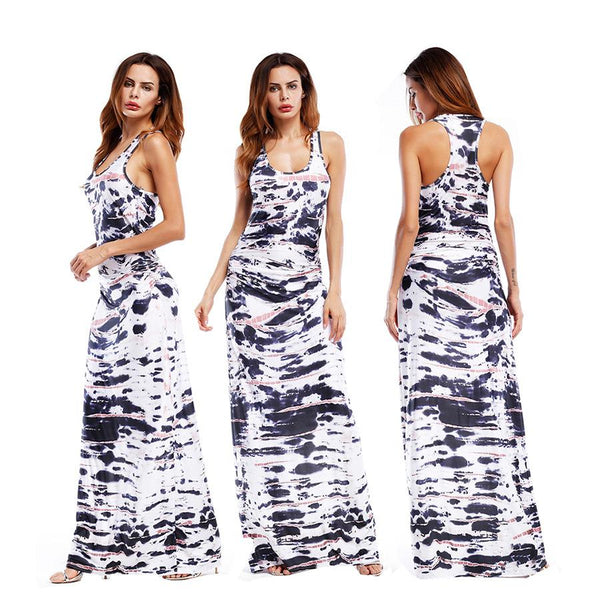 Summer New Products European And American Style Fashion Printing Vest Long Skirt Dress Dress