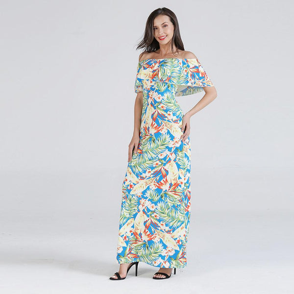 One Word Collar Wrapped Chest European And American Women Ruffled Print Long Skirt Dress