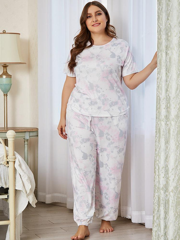 European Style Short-sleeved Home Service Two-piece Printed Comfortable Round Neck Loose Pajamas Suit Women