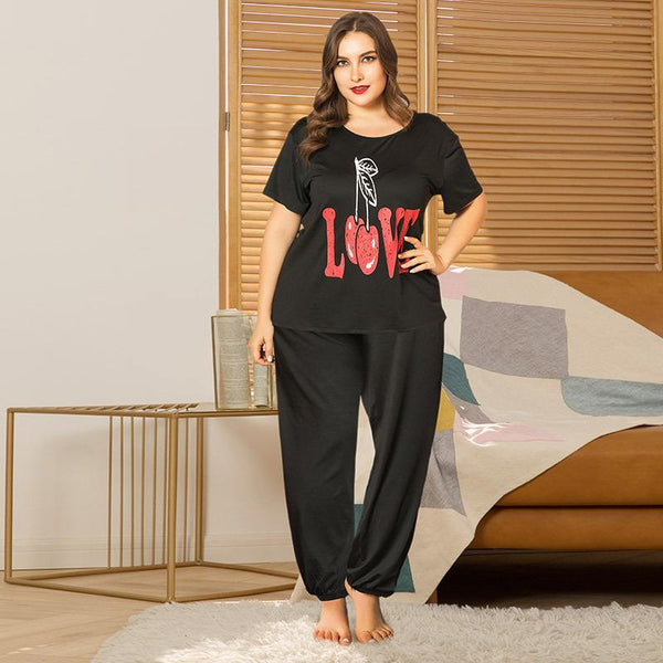 Plus Size WomenSpring And Summer Home Service Two-piece Suit LOVE Printing Loose Short-sleeved Trousers
