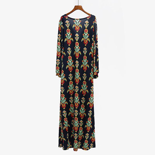 Plus Size Women New Bohemian Style Dress Printed Big V Split Female Autumn And Winter Dress