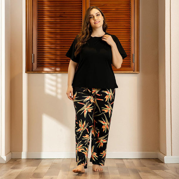 Plus Size Women Spring And Summer Home Service Two-piece Suit Printing Comfortable Loose Short-sleeved Trousers