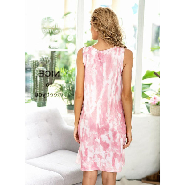 Europe Style New Summer Casual Printing Tie-dye Gradient Dress Pajamas Home Service Suit