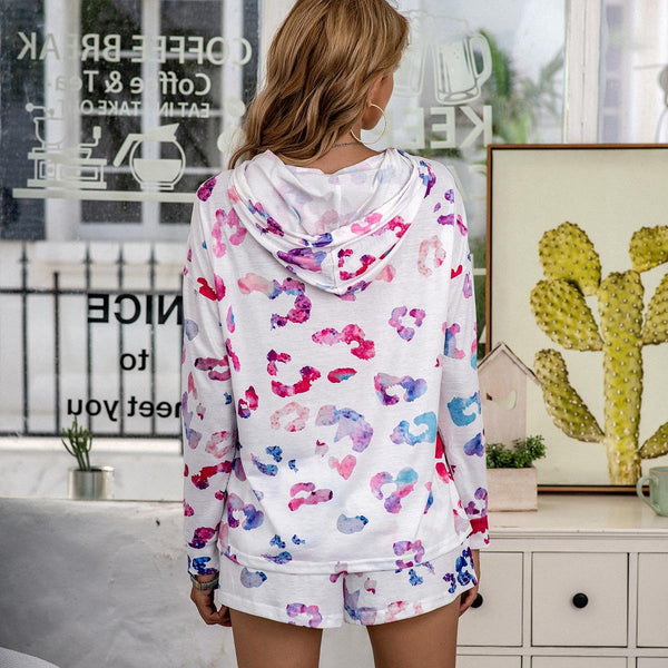 Europe Style New Casual Printed Tie-dye Autumn And Winter Pajamas Long-sleeved Suit Home Service